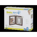 Baby Art Print Frame komplekts mazuļa pēdiņu/rociņu nospieduma izveidošanai, brown&taupe/beige